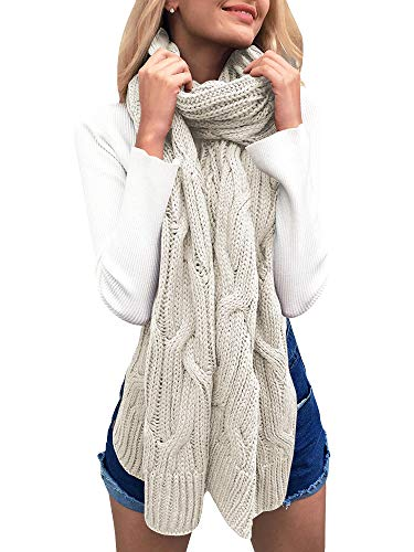 Beautife Womens Soft Winter Knitted Scarves Cable Knit Neck Warmer Long Scarfs Shawl ()