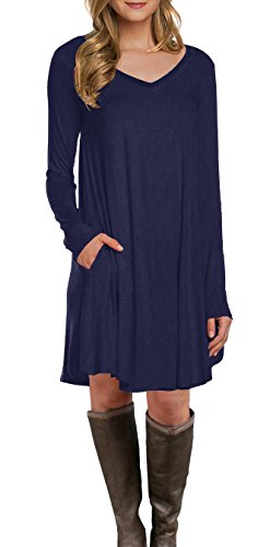 LILBETTER Women's Long Sleeve Pocket Casual Loose T-Shirt Dress (Navy Blue - Scarf Belt Patterned
