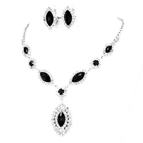 (Uniklook wedding Jewelry Jet Black Clear Rhinestone Teardrop Cut Out Clip on Earrings Necklace Set)