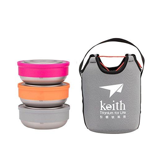 Keith 3本/セットチタンランチボックスセット超軽量屋外キャンプ食品貯蔵容器ピクニックボウル  Red B074M5TKG1