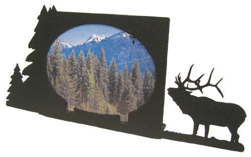 Bugling Elk Oval 5X7 Horizontal Picture ()