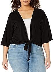 Star Vixen Womens Plus-Size 3/4 Sleeve Tiefront Shrug Shrug Sweater