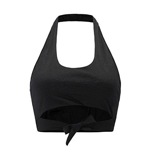Pansements Court Gilet Sans Chic Sport Camisole Pure Col Tops Serré Loose D'été Mode Couleur Design Femmes V Manches Cou Noir Vest Suspendu T shirt Adeshop v64w0qn0