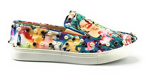 Mult Pearl Round Toe Rhinestone moccasin Womens espadrilles shoe Flat Jubilee 4nzTUx