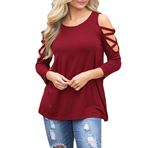 Clearance! Seaintheson Women's Sexy Strappy T-shirt Shoulder Long Sleeve Tops Bandage O-Neck Blouse Loose Pullover Shirts