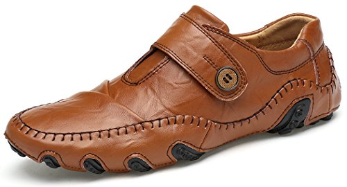 Forucreate Men's Casual Leather Octopus New Chic Shoes Fashion Walking Driving Shoes Slip-On Loafers (Brown 45)