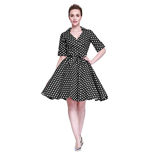 [Heroecol Vintage 1950s 50s Dress Style Retro Rockabiily Cocktail V Neck L BW] (Retro Housewife Costume)
