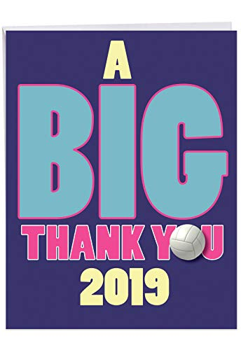 Jumbo Hilarious Graduation Thank You Card: Volleyball - 2019 Featuring a Net Gain in Team Appreciation, with Envelope (Large Size: 8.5