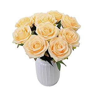 LUSHIDI Artificial Rose Silk Flowers for Home Party Wedding Decor, Pack of 10 77