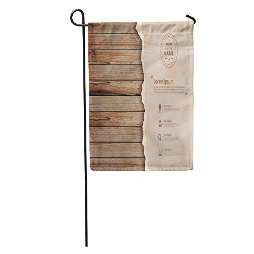 Semtomn Garden Flag Brown Wood on Wooden Wall Trace of Table Old Vintage Home Yard House Decor Barnner Outdoor Stand 12x18 Inches Flag