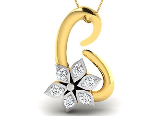 Or Jaune 14 ct Pendentifs Diamant , 0.03 Ct Diamant, GH-SI, 0.24 grammes.