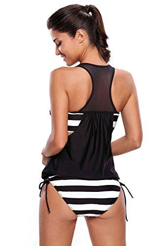 Nuevas señoras negro blanco rayas Racer Back Tankini Set 2pcs Swimwear Beachwear verano desgaste tamaño L UK 12UE 40