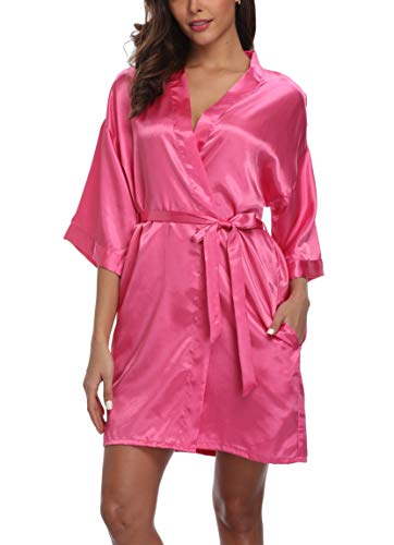 Old-Times Women's Pure Color Silk Kimono Short Robes for Bridesmaids and Bride Rose S
