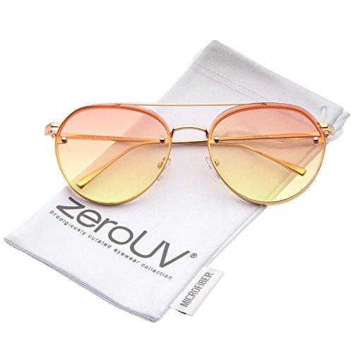 Modern Temple Brow Bar Rimless Gradient Colored Flat Lens Aviator Sunglasses 59mm