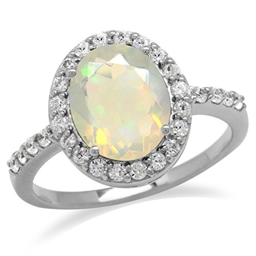 Genuine Opal & White Topaz Gold Plated 925 Sterling Silver Glamorous Ring Size 8 ()