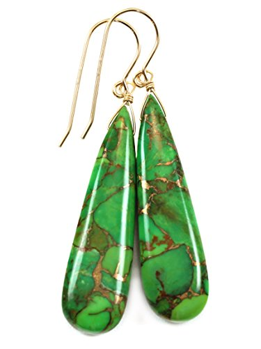 14k Yellow Gold Green Coppery Mosaic Turquoise Earrings Long Smooth Teardrops Simple Drops 14k Yellow Gold Mosaic