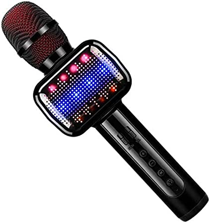 Micrófono Inalámbrico, Portátil Micrófono Karaoke Bluetooth con Altavoz, Compatible con iPad, Smartphone, PC, Batería Larga Duración (Negro)
