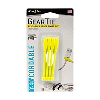 Nite Ize Gear Tie Cordable, The Orginal Reusable Rubber Twist Tie with Stretch-Loop For Cord Management + Storage, 3-Inch, Neon Yellow, 4 Pack, Made in the USA