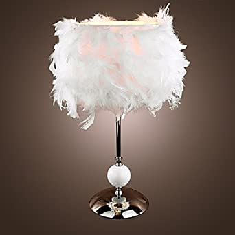 Modern white table light in feather lampshade amazon lighting aloadofball Image collections