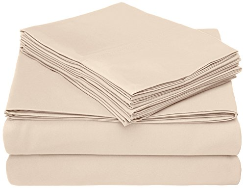 Caress Collection - Home Collection Micro Caress Luxurious Sheet Set, 90GSM 3 -Piece Twin with 1 Additional Pillowcase, Cream Color