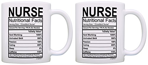 Nurse Appreciation Gift Nurse Nutritional Facts Label 2 Pack Gift Coffee Mugs Tea Cups White -