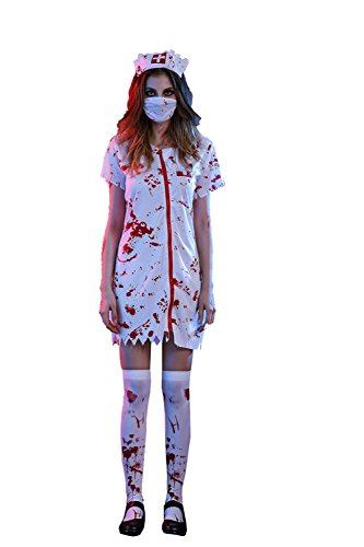 [AMZ PLUS Adults Bloody Nurse Skiller Scary Halloween Stage or Party Costume Nurse L] (Toddler Scary Halloween Costumes)