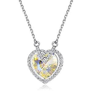 "KesaPlan Aurora Swarovski Crystal Heart Pendant Necklace for Women, Made with Swarovski Crystals, 17""+2"" Extender Chain…"