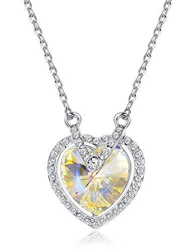 KesaPlan Aurora Swarovski Crystal Heart Pendant Necklace for Women Fashion Jewelry, Made with Swarovski Crystals, 17