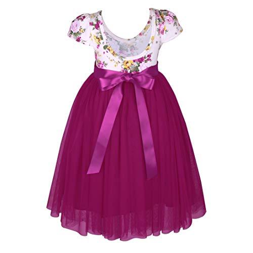 Flofallzique Summer Toddler Girls Dress Easter Floral Tulle Bottom Princess Dress for Kids (4 Years Old, Rose) (Tulle Bottom)