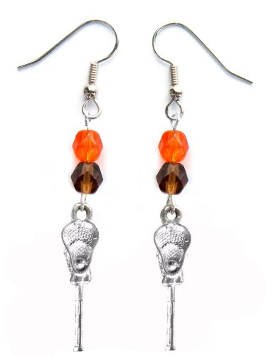 ''Lacrosse Stick & Ball'' Lacrosse Earrings (Team Colors Orange & Brown) by Edge Sports