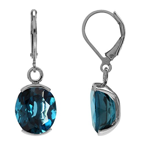(11.96ct. Genuine London Blue Topaz 925 Sterling Silver Leverback Dangle Earrings)