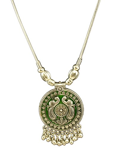 - Oxidized Indian Jewelry Hand Painted Green Twin Peacock Tribal Pendant Necklace with Long Silver Chain for Women and Girls