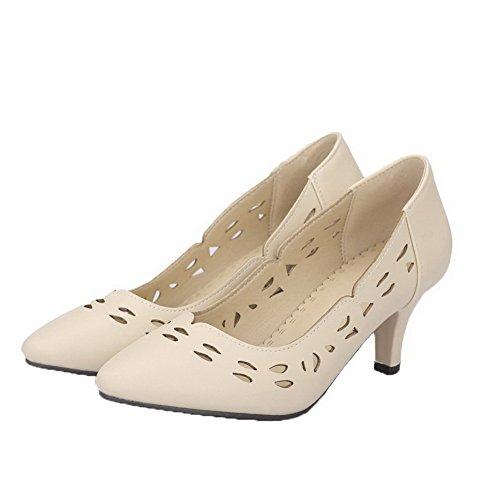 AgooLar Damen PU Mittler Absatz Schließen Zehe Ziehen auf Pumps Schuhe Aprikosen Farbe