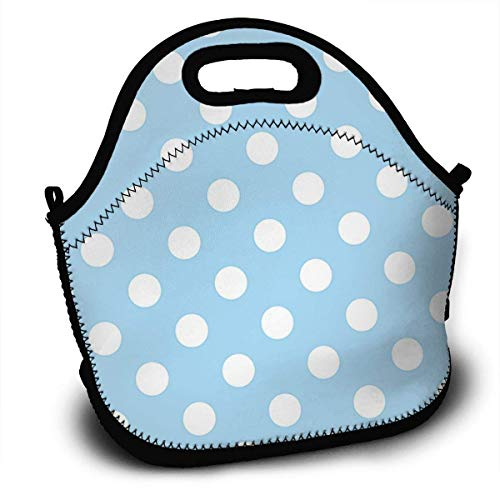 Light Blue Polka dot Insulated Neoprene Lunch Bag/Lunch Box/Lunch Tote/Picnic Bags Cooler Warm Pouch Lightweight Handbag Gourmet Food Containers for Women, Men,Girls, Boys, Kids