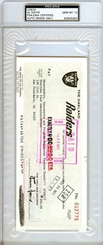 Al Davis Autographed Check Oakland Raiders Gem Mint 10#83905993 PSA/DNA Certified NFL Cut Signatures