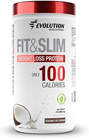 Evolution Low Carb Fit and Slim Grass Fed Whey Protein High Fiber Keto Approved Stevia Sweetened Only 100 Kcal per Serving 2 Pounds – 30 Servings Award Winning Taste Coconut