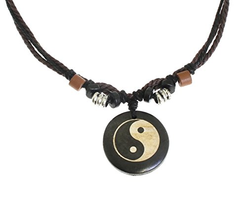 Yin Yang Leather - Surfer Cord Necklace with Ying Yang Carved Bone Pendant - Fully Adjustable - Black & Brown Cord