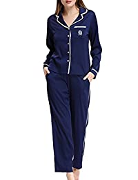 NORA TWIPS Womens Silk Satin Pajamas Set Sleepwear Loungewear with Elastic Waist Pj Pants