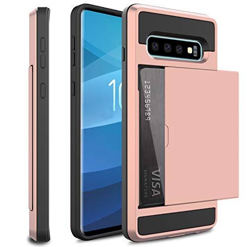 (USHAWN Compatible Samsung Galaxy S10 Case, Hybrid Dual Layer Slim Hard Card Slot Holder Rugged Shockproof Armor Defender Protection Wallet Case Cover Compatible with Galaxy S10 6.1 inch (Pink))
