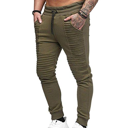 OWMEOT Men Sweatpants,Cargo Work Trousers Jogger Basic Sportwear Jogging Outdoor Pants (Green, L) by OWMEOT