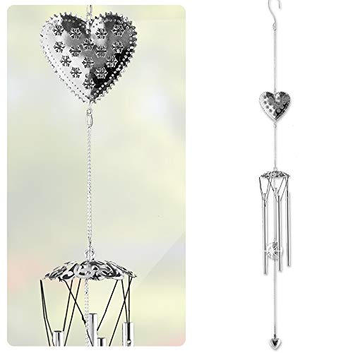 BANBERRY DESIGNS Garden Windchimes - Heart Design and Metal Ball Sun Catcher - Hanging Wind Chimes - 36