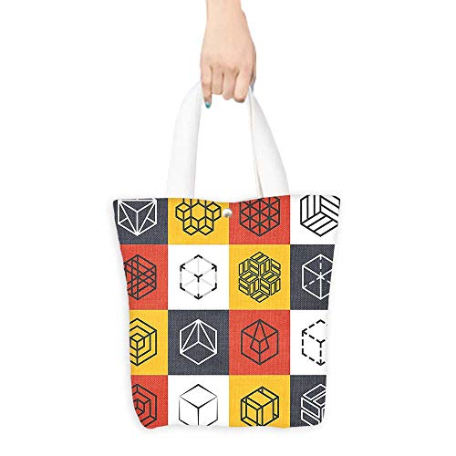 Casual Shopping Tote BagCollage of Geometrical Shapes Futuristic Squares Rubic Cubes Artwork Image Reusable 100% Eco Friendly W16.5 x H14 x D7 ()