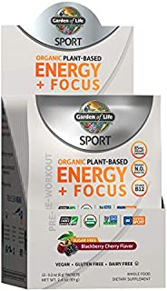 Garden of Life SPORT Organic Plant-Based Energy + Focus Vegan Pre Workout Powder Packets (12ct), Sugar Free Bl