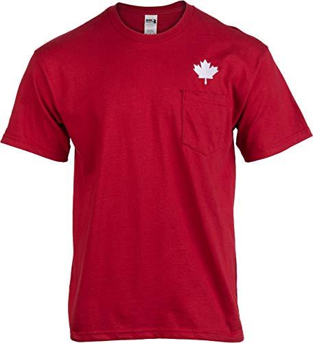 Canada Pride Pocket Tee | Embroidered Red Canadian Maple Leaf Men Women T-Shirt-(Pocket,2XL)