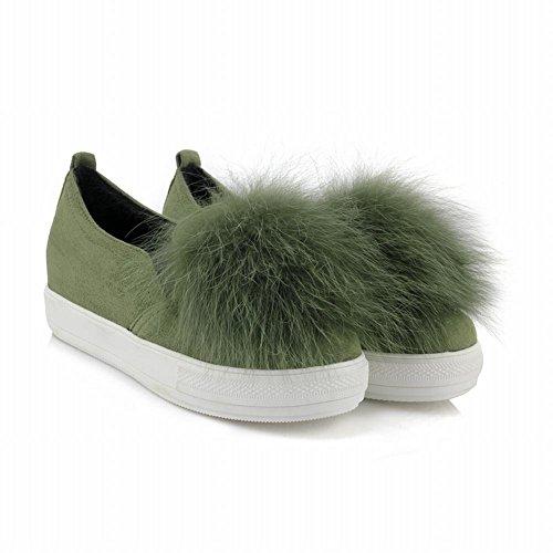 Latasa Femmes Faux Cheveux Glisser Sur Mocassins Chaussures Vert