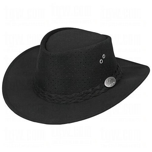 Aussie Chiller Bushie Perforated Hats Black Large