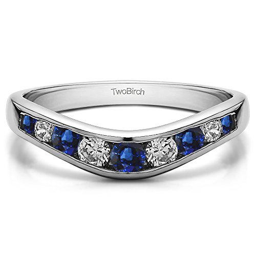 (Diamonds (H,I2-I3) and Sapphire Graduated Contour Band In Silver(0.42Ct) Size 3 To 15 in 1/4 Size Interval)