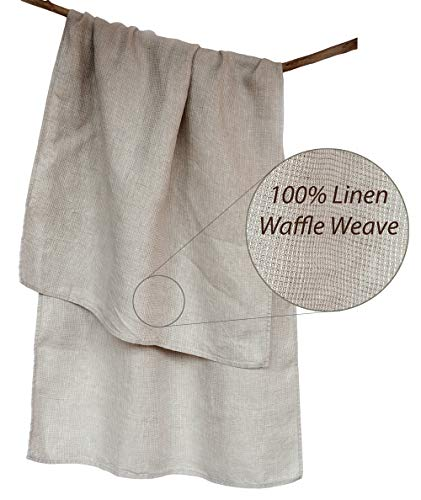Handmade Washed Organic Bath Towel - Lightweight Thin Pure 100% Linen Flax 26.5x58 Inch Gray Natural Waffle Weave Quick Drying Shower Beach Body Hair Sauna Spa Bathroom Travel Gym Washcloth