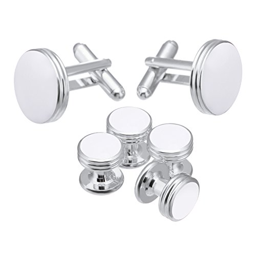 (Salutto Men's Cufflinks and Studs Set for Formal French Shirt Formal White with Shiny White)