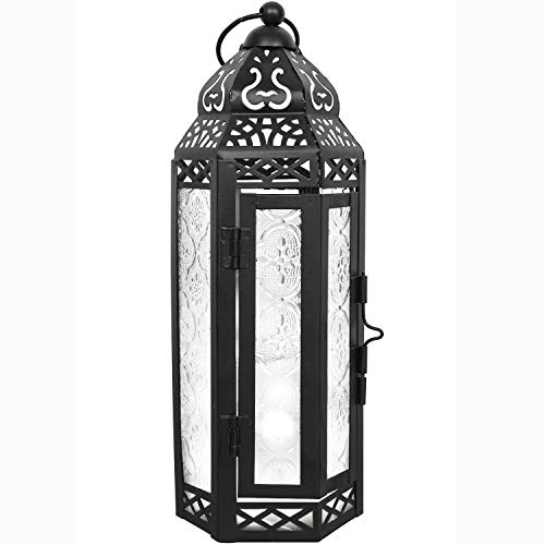 LIVEDITOR LIGHTING Gifts & Décor Glass Metal Moroccan Candle Holder Hanging Lantern for Patio Indoors/Outdoors Parties and Weddings Décor Lights (Clear)